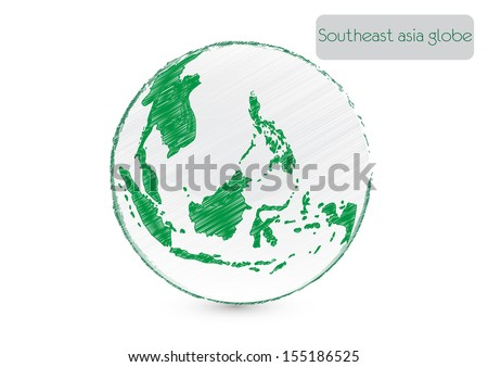 Drawing world globe (southeast asia). Vector illustration - stock vector