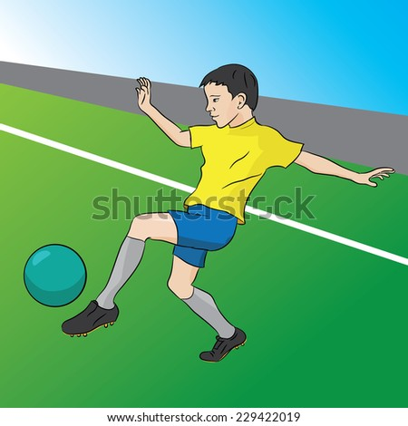 Drawing young soccer player in a dynamic perspective - stock vector