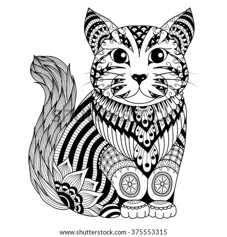 Drawing Zentangle Cat Coloring Page Shirt Stock Vector 375300103 ...