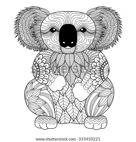 Drawing zentangle Koala for coloring page, shirt design effect, logo, tattoo and decoration. - stock vector