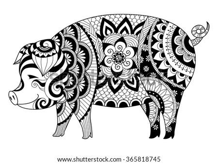 Drawing Zentangle Pig Coloring