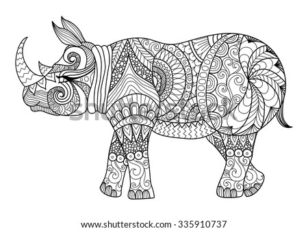 Drawing Zentangle Rhino For Coloring Page Shirt Design Effect Logo Tattoo And Decoration