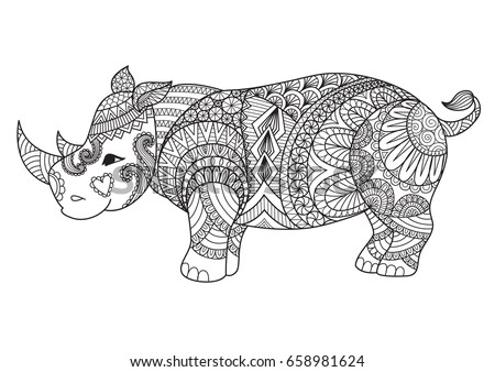 Drawing Zentangle Rhino Coloring Page Shirt Stock Vector 658981624 ...
