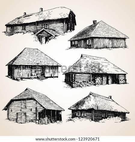 Drawings of old wooden buildings - stock vector