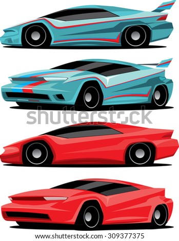 drawings of sport cars created in two different colors and designs - stock vector