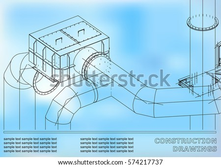 Drawings steel structures pipes 3 d blueprint vector de drawings of steel structures pipes 3d blueprint of steel structures cover background malvernweather Choice Image