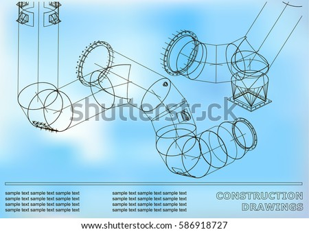 Drawings structures pipes pipe 3 d blueprint stock vector 2018 drawings of structures pipes and pipe 3d blueprint of steel structures cover malvernweather Choice Image
