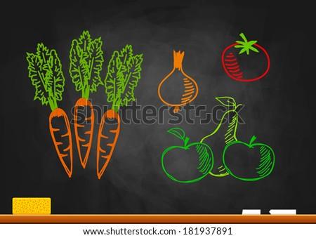 Drawings on blackboard    - stock vector