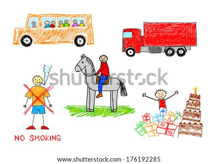 Drawings on white background  - stock vector