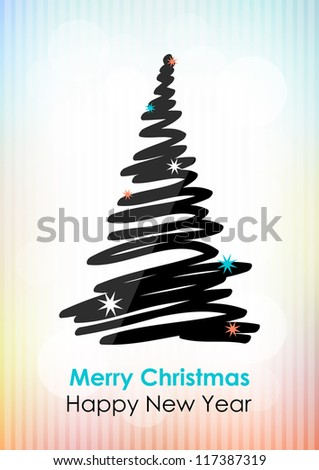 Drawn black Christmas tree on light background. Vector version. - stock vector