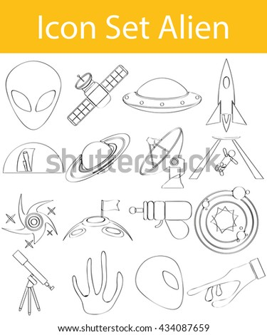 Drawn Doodle Lined Icon Set Aliens with 16 icons for the creative use in graphic design - stock vector