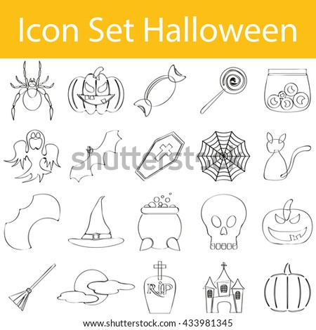 Drawn Doodle Lined Icon Set Halloween I for the creative use in graphic design - stock vector