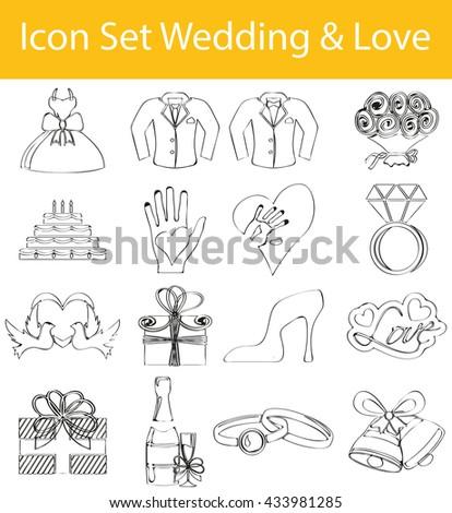 Drawn Doodle Lined Icon Set Wedding and Love with 16 icons for the creative use in graphic design - stock vector