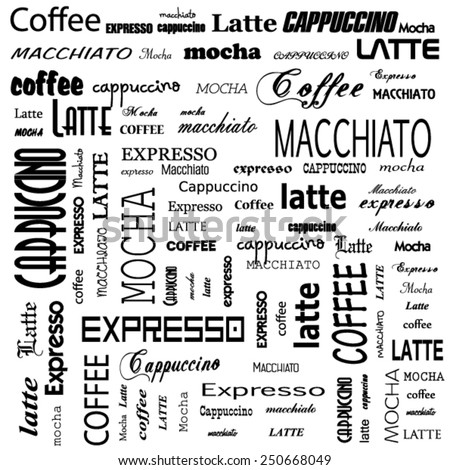 drawn doodles set of coffee words - stock vector