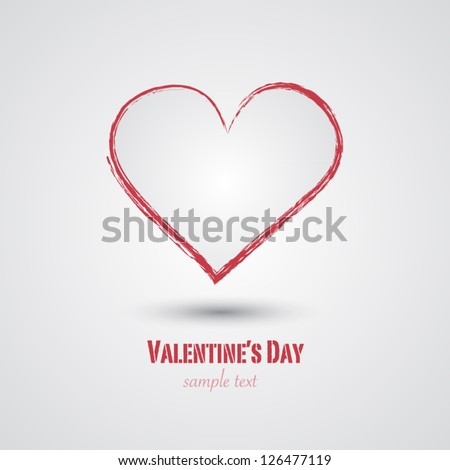 Drawn graphic heart vector background