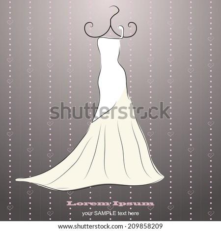 Drawn lopsided wedding dress  - stock vector