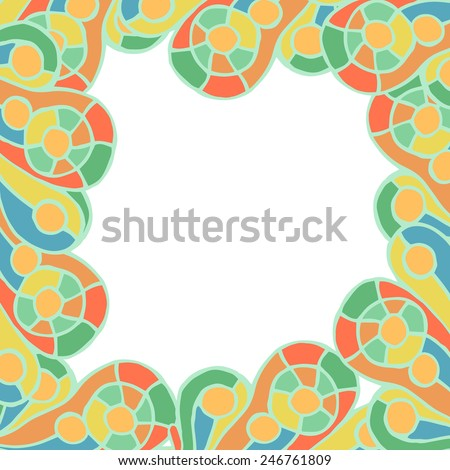 drawn manually colorful abstract frame