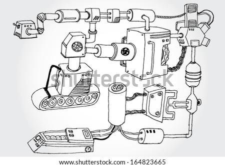 Drawn Mechanism - stock vector