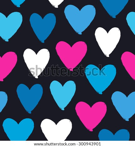 Drawn multicolor heart silhouettes on black background. Symbol of love in grunge style. Decorative seamless pattern - stock vector