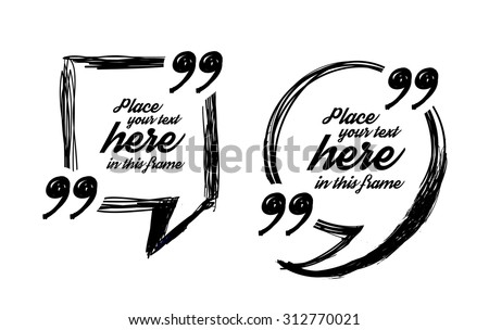 Drawn quote blank template - stock vector