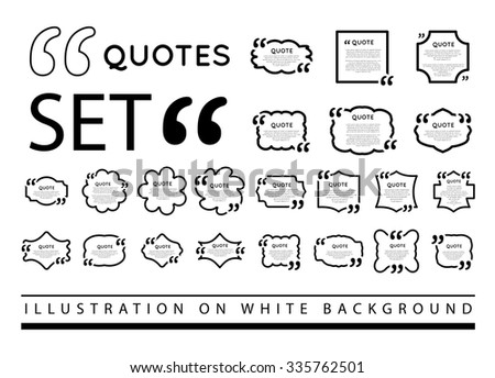 Drawn quote blank template. Drawn quote bubble. Empty template. Drawn circle business card template, paper sheet, information, text. Print design. Quote form. Template vector set - stock vector