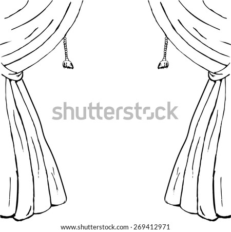 Drawn sketch of curtains as a design element - stock vector
