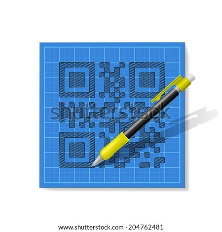 drawndrawn pencil sketch QR-code with a realistic mechanical pencil on blue graph paper pencil sketch QR-code with a realistic mechanical pencil on blue graph paper - stock vector