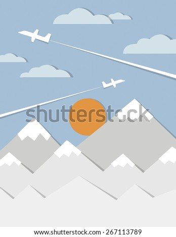 Dream big travel poster with air plane in flight. - stock vector