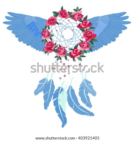 Dream - catcher and flowers  - vector illustration