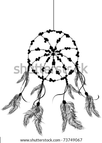 Dream catcher icon, isolated object over white background, line art.