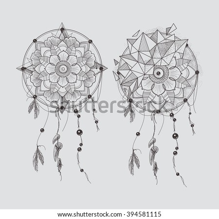 Dream Catcher. Ornament Round Mandalas Tattoo. Geometric Circle Element Made in Vector