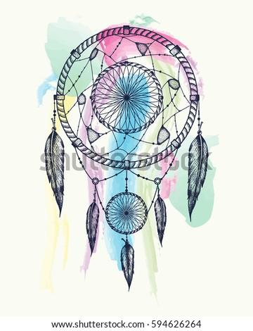 Dream Catcher Tattoo Art Dot Works StockVektorgrafik 40 Amazing Dream Catcher Works