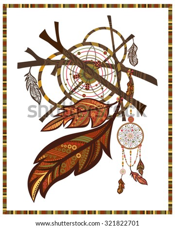 vector colorful ethnic set dream catcher stock vector 172248869 shutterstock. Black Bedroom Furniture Sets. Home Design Ideas