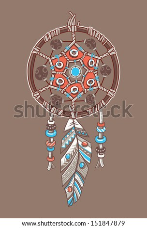 Dream catcher with comets. Vector postcard