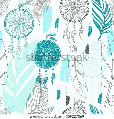 Dream catcher with feathers, high detailed ritual symbol. Hand drawn illustration for tattoos or t-shirt design, Seamless pattern, Vector - stock vector