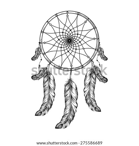 Dream catcher with feathers  in zentangle style, high detailed ritual thing. American boho spirit. Hand drawn sketch vector illustration for tattoos or t-shirt print. - stock vector