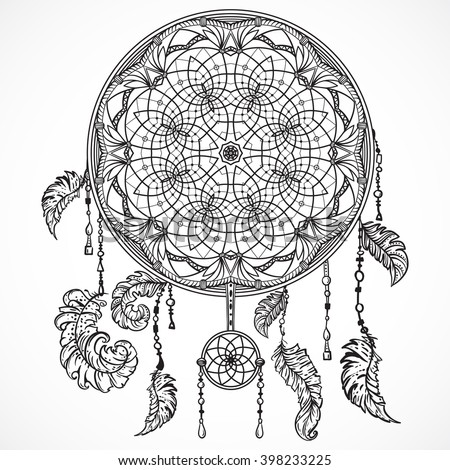 Boho template inspirational quote lettering follow stock for Dream catcher tattoo template
