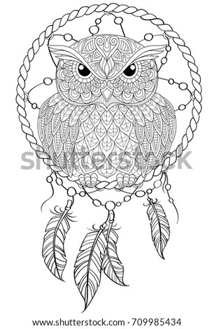 black and white dream catchers coloring pages | Dream Catcher Owl Tattoo Adult Antistress Stock Vector ...