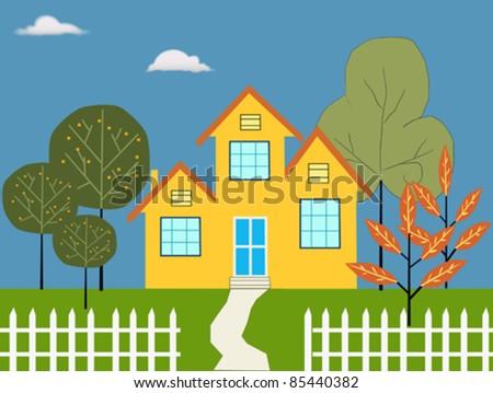 Dream house illustration - stock vector