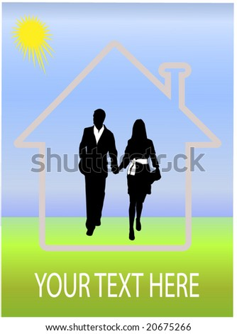 dream house, landscape and happy couple - stock vector