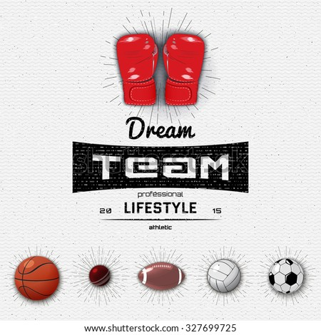 Dream Team insignia  and labels football, basketball, volleyball, squash, boxing, cricket, rugby, American football, insignia  and labels It can be used for design - stock vector