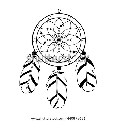 Owl dreamcatcher sun moon medallions on stock vector for Dreamcatcher tattoo template