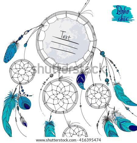 Dreamcatcher Set Ornaments Feathers Beads Native Stock Vector