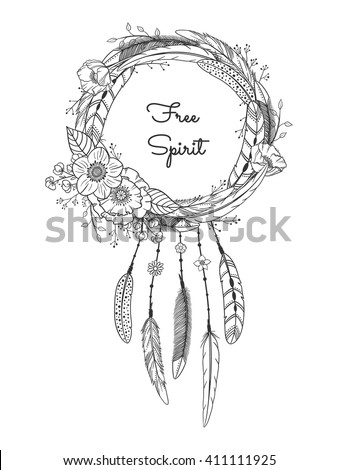 Dreamcatcher with feathers and flowers. Boho style. Hand drawn magic symbol. Black and white, suitable for coloring book. Bohemian collection. Vector illustration. - stock vector