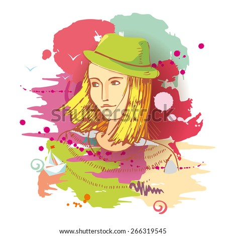 Dreaming girl in green hat on background of colorful paint blots. Young artist. Vector - stock vector