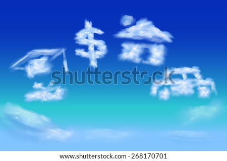dreaming of future wealthy life - stock vector
