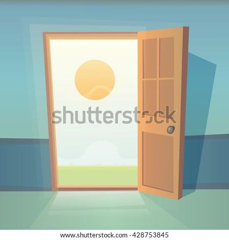 open front door illustration open front door illustration illustration front door stock vector