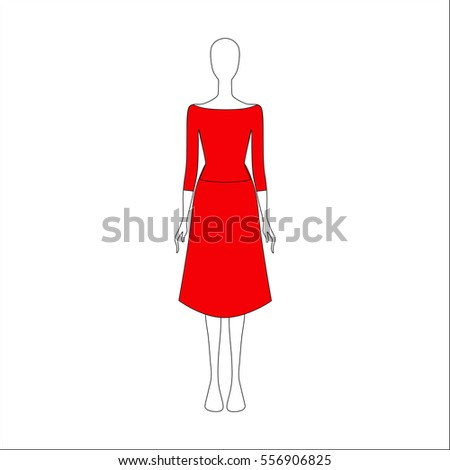 Dress drawn vector. women's clothing.