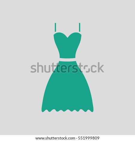 Dress icon. Gray background with green. Vector illustration.