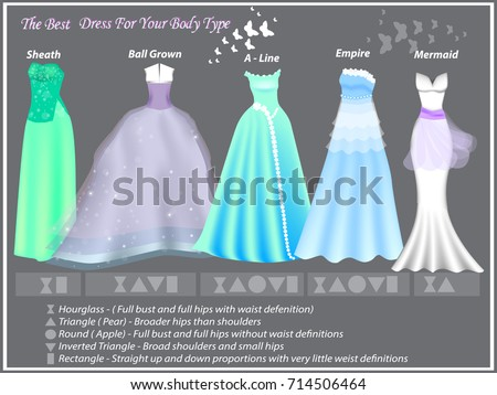 Dress Styles Different Body Type Dresses Stock Vector